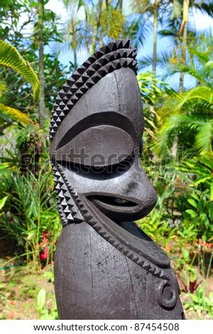 Wood carving on Vanuatu - stock photo