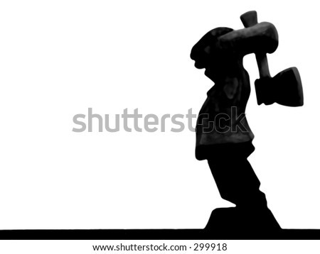 Wood carving silhouette