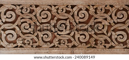 Wood Carving Thai background - stock photo