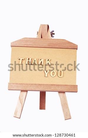 Wood carving Thank you written on the photo frame on - stock photo
