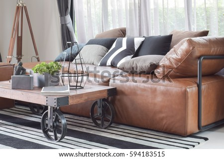 Modern Living Room Design Sofa Wooden Stock Photo 472125673 ...