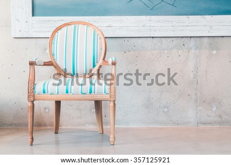 Wood chair Decoration in livigin room interior - Filter effect Processing
