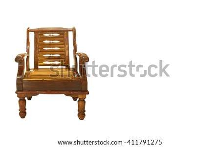 Wood chair table isolated on white