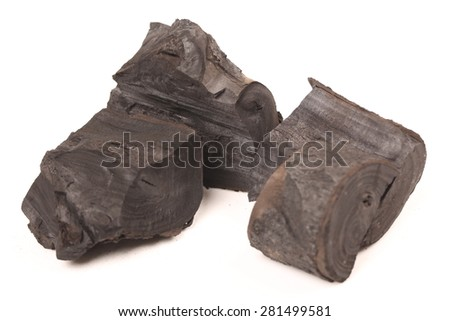 wood charcoal isolated on white background  - stock photo