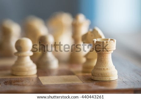 Wood chess pieces on a table