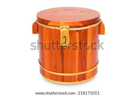 wood chest money box with a coin slot - stock photo