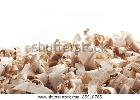 Wood chips and sawdust texture with copy space - stock photo