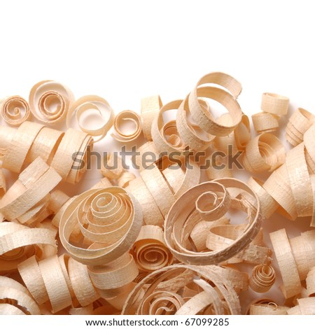 Wood chips over the white background