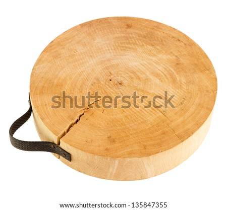 Wood chopping block isolated on white background