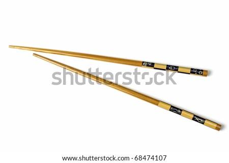 Wood chopsticks isolated on white background - stock photo