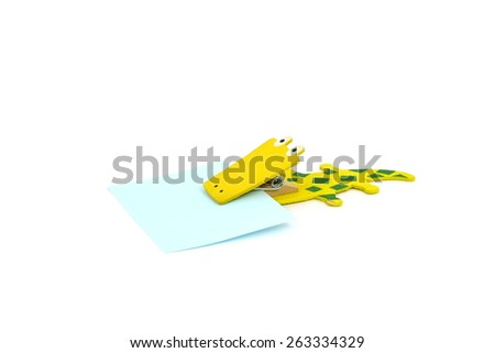 Wood Clip and blank note paper on white background - stock photo