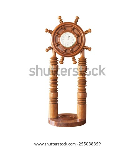 Wood Clock isolated on a white background. - stock photo