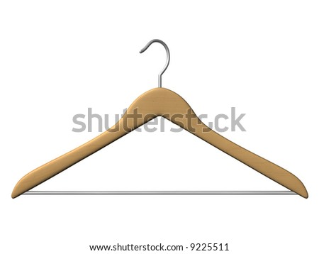 wood coat hanger isolated on white background