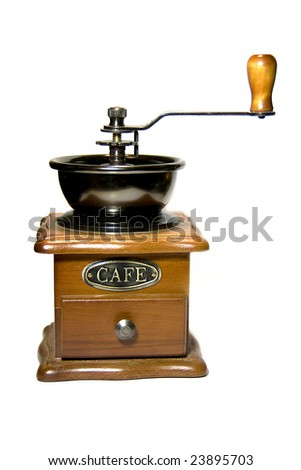 wood coffee grinder on white background isolated