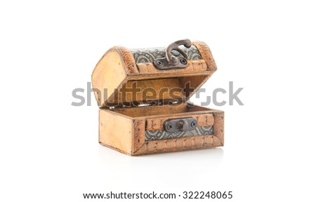 wood coffer on white background