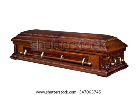 wood coffin isolated on white background. Ritual objects for burial. Conduct of the deceased on his last journey. Surrender body dust of the earth. Christian funeral ritual - stock photo