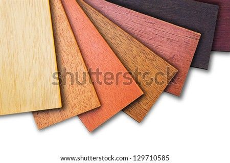 Wood color guide, samples of wood choice on white background. - stock photo