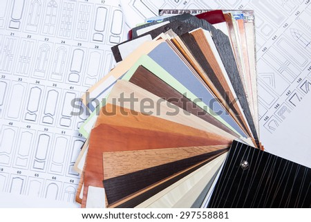 Wood color samples with kinds of doors - stock photo