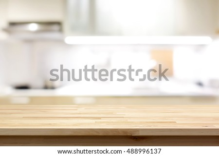 Wood Countertop Or Kitchen Island On Stock Photo Royalty Free