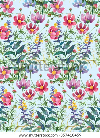 Wood Cow-wheat and Cosmos flowers. Floral composition. Seamless background pattern version 4