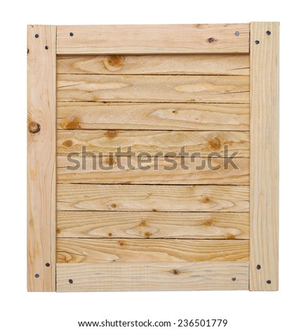 Wood Crate Lid With Copy Space Isolated on White Background. - stock photo