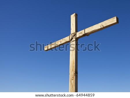 Wood Cross in the Sunlight - stock photo