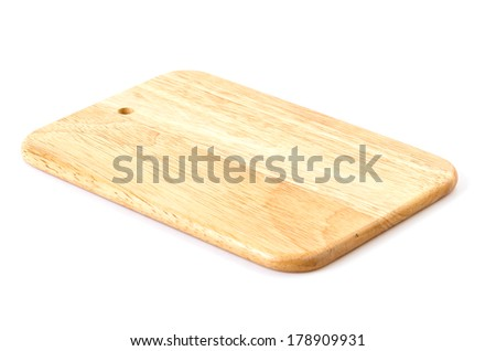 Wood cutting board on isolated white background
