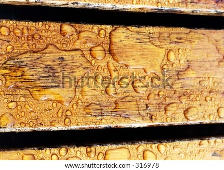 Wood Deck with Water drops - stock photo