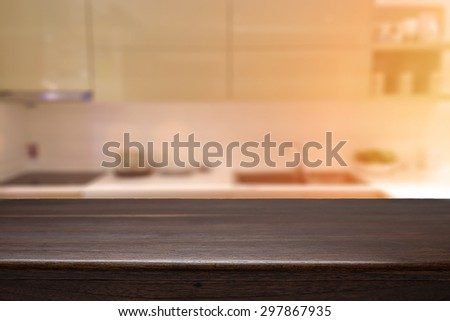 wood desk space and kitchen background. for product presentation - stock photo