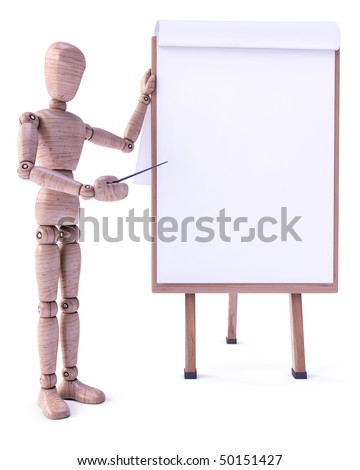 Wood doll stand up beside the whiteboard. Put on whiteboard your text, logo, chart, sign, etc. - stock photo