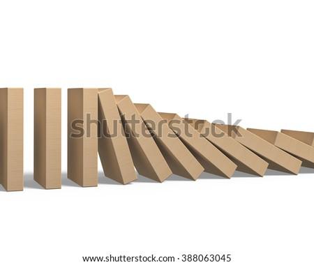 Wood dominoes falling, on white background. - stock photo