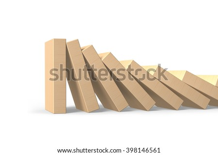 Wood dominoes falling with last piece standing, isolated on white background, 3D illustration. - stock photo