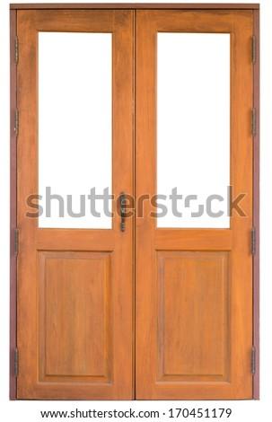 Wood door isolate on white background - stock photo