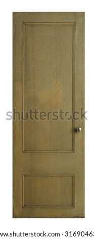 Wood door isolated on white - stock photo
