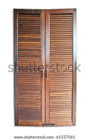 Wood door isolated on white background - stock photo