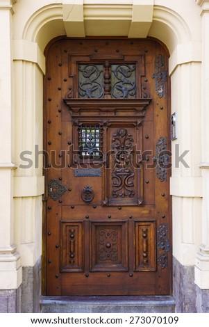 wood door. old door - stock photo