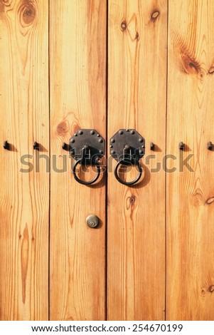 wood door with door knocker at Seoul, South Korea  - stock photo