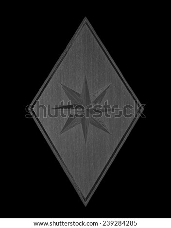 Wood Eight-pointed star in monochrome isolated over black background - stock photo