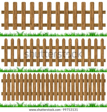 Wood fence background, computer graphic with clipping path. - stock photo