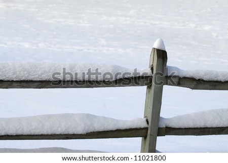 Wood fence covered with snow