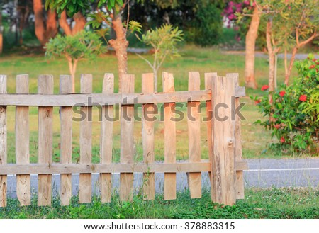 wood fence in nature park
