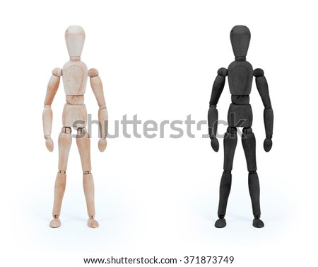 Wood figure mannequin - black and white, isolated - stock photo