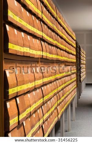 wood filing cabinet - stock photo