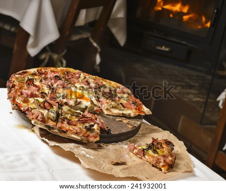 Wood fired pizza - stock photo