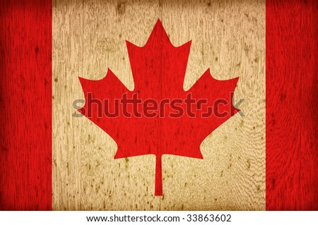 wood flag of canada