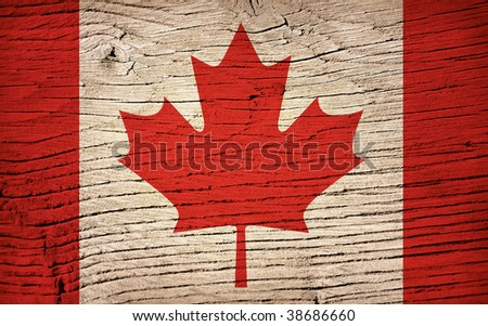 wood flag of canada - stock photo