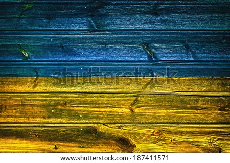wood flag of ukraine  - stock photo