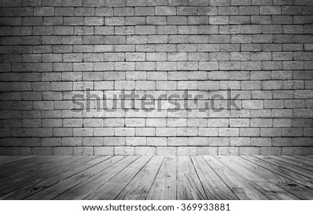 wood floor and brick wall texture; black and white tone