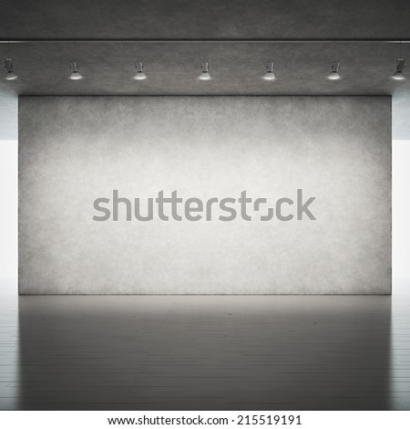 Wood floor and concrete wall with spotlights - stock photo
