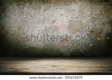 Wood floor and dark raw concrete texture.  - stock photo